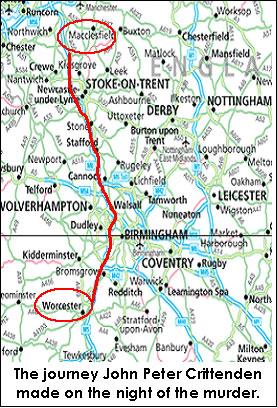 Mapa da rota tomada pelo assassino